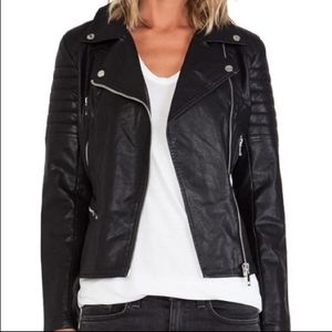 BlankNYC BLACK FAUX LEATHER QUILTED MOTO JACKET L